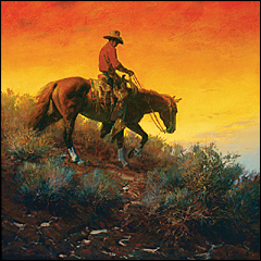 Cowboy Sunset Painting by McCain